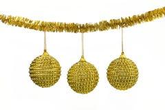 Billes d'or - décoration de Noël Photographie stock