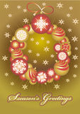 Billes d'or de Noël d'ââof de guirlande Photographie stock