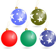 Billes d'ornements de Noël réglées Photo libre de droits