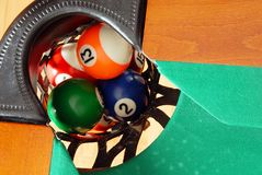 Billes dans la poche de table de billards Image libre de droits