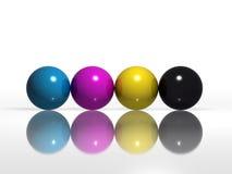 Billes de couleur de CMYK Photos libres de droits