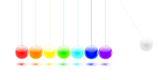 Billes de couleur du berceau de Newton Photos libres de droits