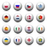 billes de football 3D avec la configuration d'indicateur. Photographie stock