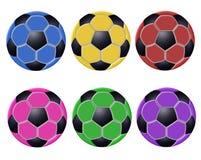 Billes de football colorées Photos libres de droits