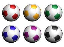 Billes de football d'isolement sur le fond blanc Image stock