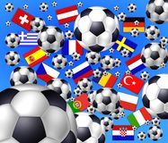 Billes de football Flaying - nations Photographie stock