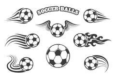 Billes de football réglées Images stock