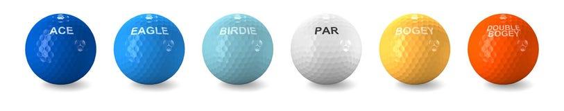 Billes de golf colorées pour les rayures types de rappe Photos libres de droits
