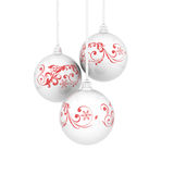 Billes de Noël avec des enroulements Image stock