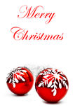 Billes de Noël avec la décoration de flocon de neige Photographie stock libre de droits