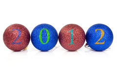 Billes de Noël avec la datte 2012. Photographie stock