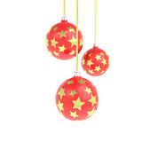 Billes de Noël avec les étoiles d'or Image libre de droits