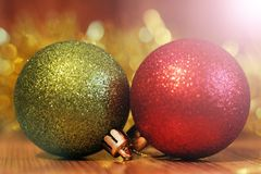 Billes de Noël Carte de Joyeux Noël Thème de Noël d'hiver Images libres de droits