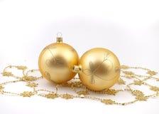 Billes de Noël d'or Photographie stock