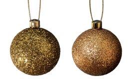 Billes de Noël d'or Photos libres de droits