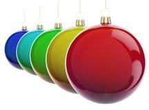 Billes de Noël dans une ligne Images libres de droits