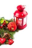 Billes de Noël et branchements de sapin avec des décorations Photos libres de droits