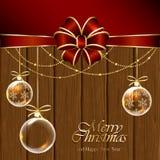 Billes de Noël sur le fond en bois Photos libres de droits