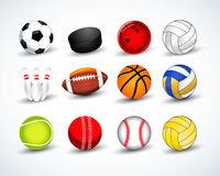 Billes de sports réglées hockey, base-ball, cricket, basket-ball, le football, tennis, le football, base-ball, bowling, golf, vol Images libres de droits
