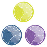 Billes de tennis grunges multicolores Photos libres de droits