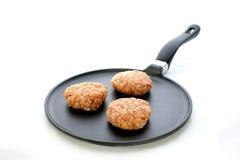 Billes de viande dans un carter Images libres de droits