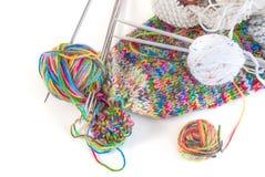 Billes des laines et du tricotage Images stock
