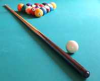 Billes et table de billard Photographie stock libre de droits
