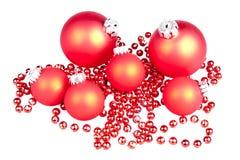 Billes rouges de billes de Noël petites Image stock