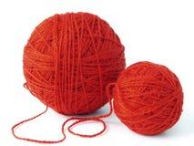 Billes rouges de laines Photo stock