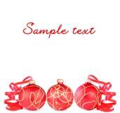 Billes rouges de Noël Photos stock