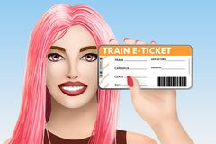 Billet électronique d'e-billet de train de concept Belle fille tirée sur le fond vif Illustration illustration libre de droits