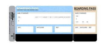 Billet blanc de passage d'embarquement de compagnie aérienne Image stock
