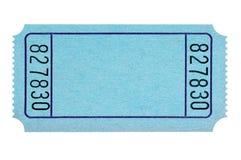 Billet bleu de tombola de blanc d'isolement sur simple blanc coupé images libres de droits