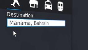 Billet d'avion de achat vers Manama en ligne Déplacement au rendu 3D conceptuel du Bahrain Image libre de droits