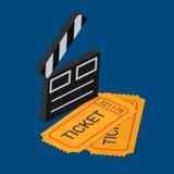 Billet d'exposition de théâtre de cinéma réservant le vecteur 3d isométrique plat Photo stock