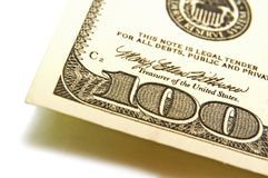 billet d'un dollar 100 Photo libre de droits