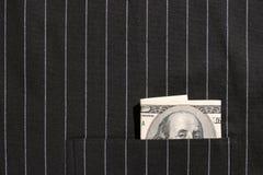 billet d'un dollar 100 dans la poche Photos stock