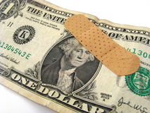 Billet d'un dollar blessé Image stock