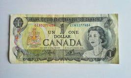 Billet d'un dollar canadien utilisé Photos libres de droits