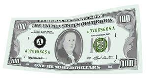 100 billet d'un dollar ont isolé Image libre de droits