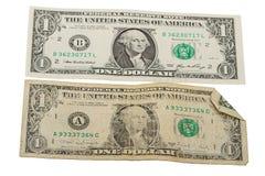 Billet d'un dollar vieux et neuf Images stock