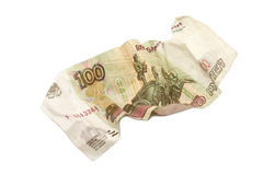 Billet de banque chiffonné dans cent roubles russes Images stock