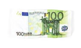 Billet de banque chiffonné de cent euros Photos stock