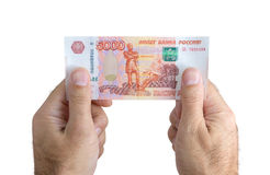 Billet de banque dans des mains Photographie stock