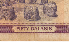 Billet de banque de dalasi du Gambien 50 Photo stock
