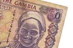 Billet de banque de dalasi du Gambien 50 Image libre de droits