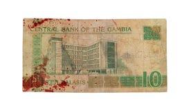 Billet de banque de dalasi du Gambien 5, ensanglanté Image libre de droits