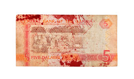 Billet de banque de dalasi du Gambien 5, ensanglanté Photo libre de droits