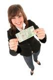 Billet de banque de fixation de femme photographie stock