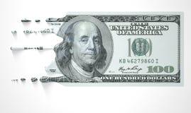 Billet de banque de fonte d'égoutture de dollar US Images stock